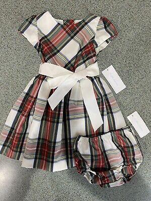 Ralph Lauren Toddler Dress Girls 18M Red Green Tartan Plaid Holiday Christmas