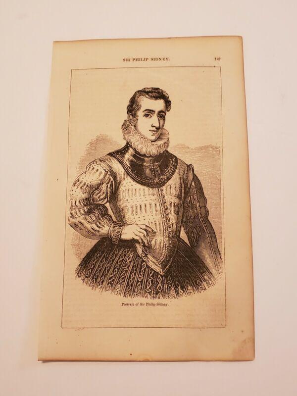 Portrait of Sir Philip Sidney English Poet c. 1854 Engraving