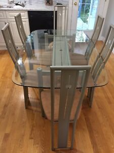 Glass Table and Chairs with Barstools