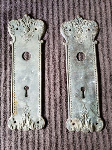 Matching Set Antique Victorian Brass Door Plates for Skeleton Key Hardware