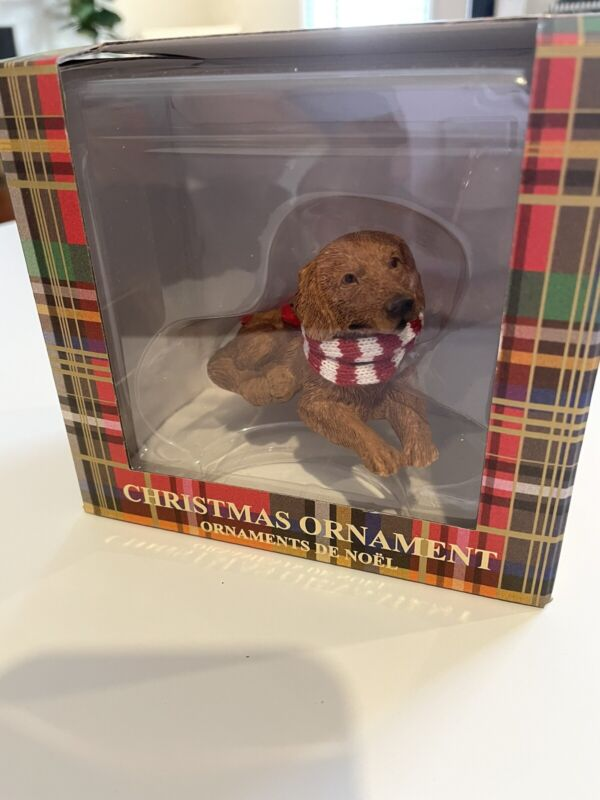 NIB New Sandicast Dog Christmas Ornament Golden Retriever Red White Scarf XMas