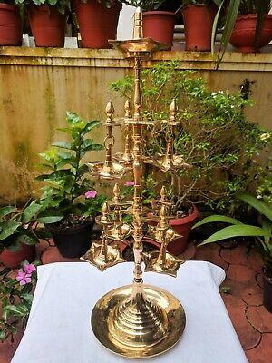 Temple Oil Wick Lamp Brass Diya Handheld Multi Layered Aarti Jyoti Puja Lamp