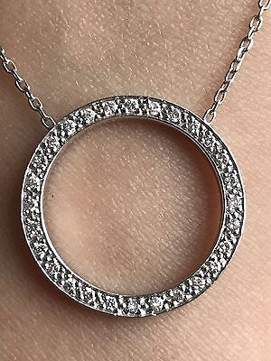 14k White Gold Open Circle Diamond Slide Charm Pendant
