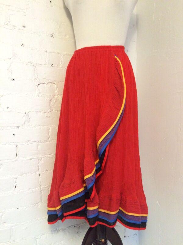Vintage 70s Cotton Gauze Ruffle Layered Midi Skirt Red size S XS