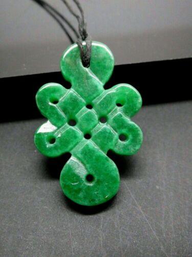 Tibetan Eternal Endless Green Jade Gemstone Lucky Pendant Necklace & Cord