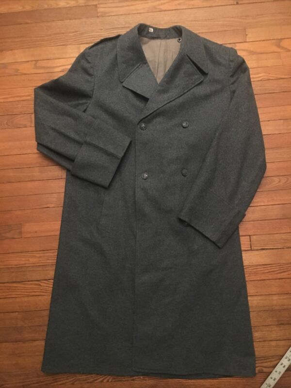 VTG WWII SWISS MILITARY Long Wool OVERCOAT Blue Gray Double Breasted Men's Large
