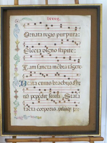 Antique Medieval Illuminated Musical Manuscript On Vellum Vexilla Regis Hymn