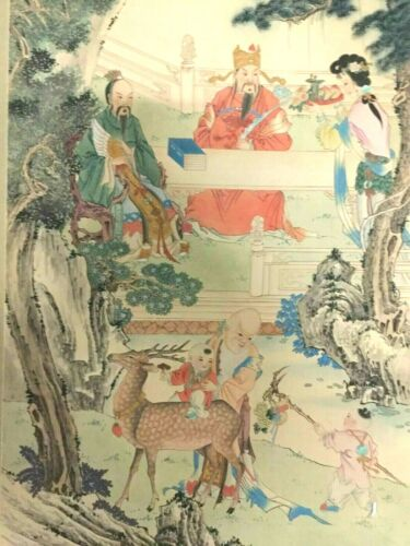 Large Vintage Chinese Wall Hand Painted Hanging Scroll Art