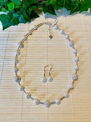 Perlenkette Kugelkette Halskette Set Glasperlen Hämatit Weiß Silber - Perle Halskette Set