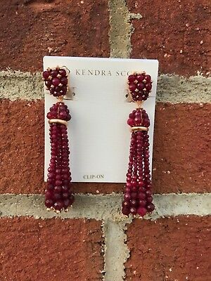 NWT Kendra Scott Cecily Drop Statement Earrings in Maroon Jade / RSG