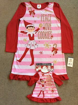 NWT Elf On Shelf Girls Size 10 Nightgown Doll Gown Peace Love Cookies Christmas