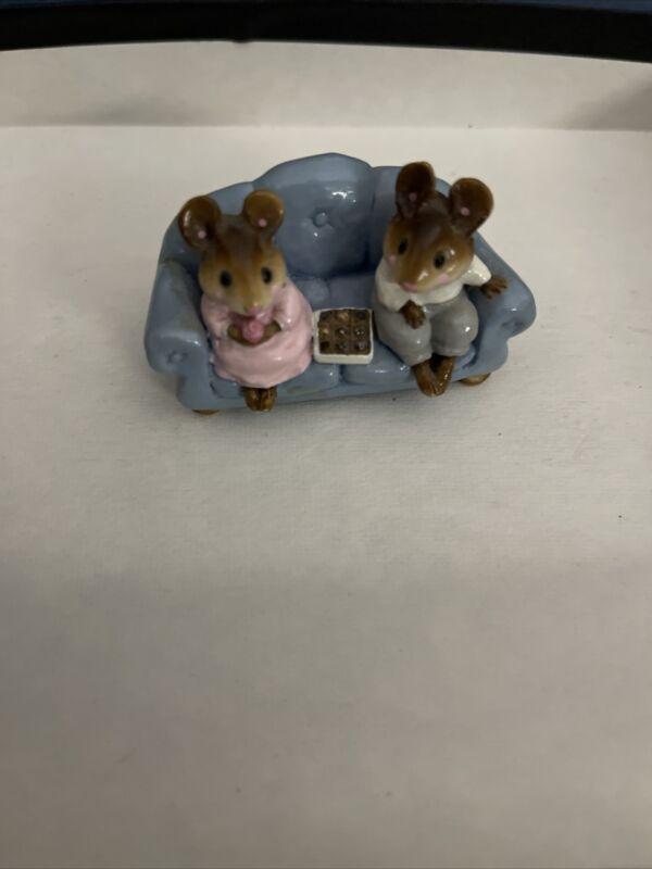 Wee Forest Folk 1986 First Date Blue Couch William Petersen figurine vintage