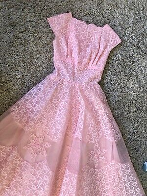 vintage retro 50's 60's 1950's 1960's Peach Lace Dress Ball Gown Size 6 8 S XS