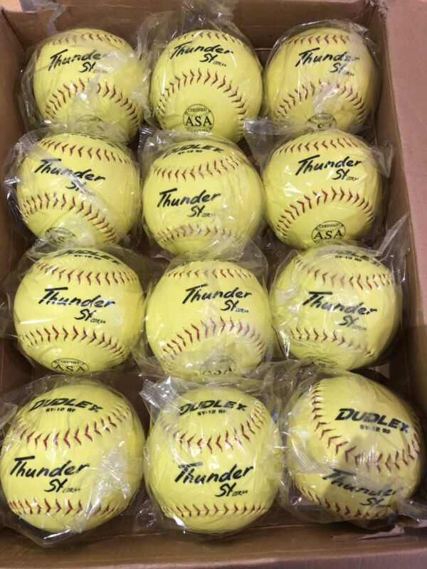 lot of 12 dozen softballs 12 inch Dudley SY-12 RF Thunder Softballs COR44 ASA