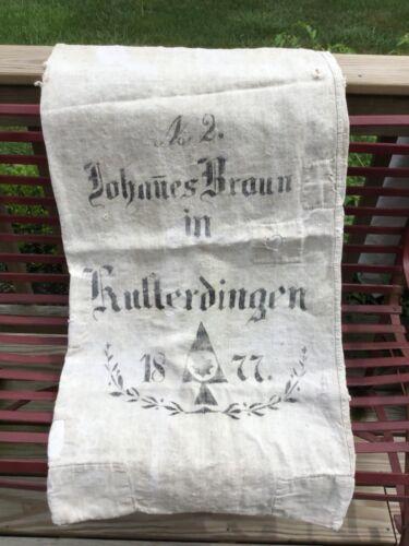1877 German woven twill grain sack, great graphics