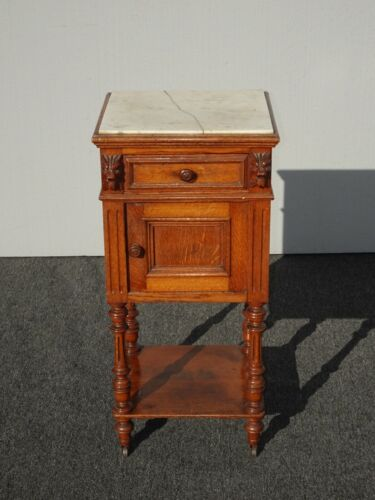 Vintage French Louis XVI White Marble Side Table Nightstand Lion Head Motif Asis