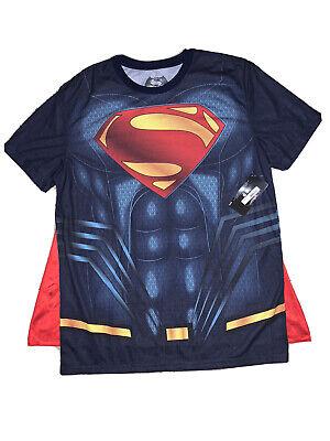 DC Comics Mens T-Shirt w/ Cape Sz L Batman vs Superman Costume Halloween