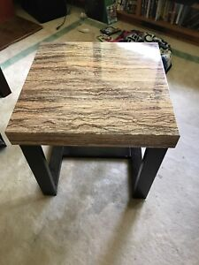 Faux marble coffee table and side table.