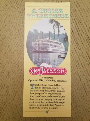 1986 General Jackson Riverboat Cruise Brochure Tennessee Cumberland Opryland USA