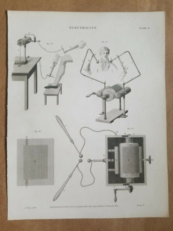 Wilson LOWRY 1818 Original Antique Engraving ELECTRICITY Invention History Old 4
