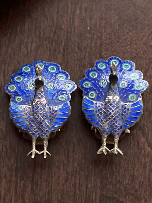Antique Late Victorian PEACOCK Enameled Sterling Earrings
