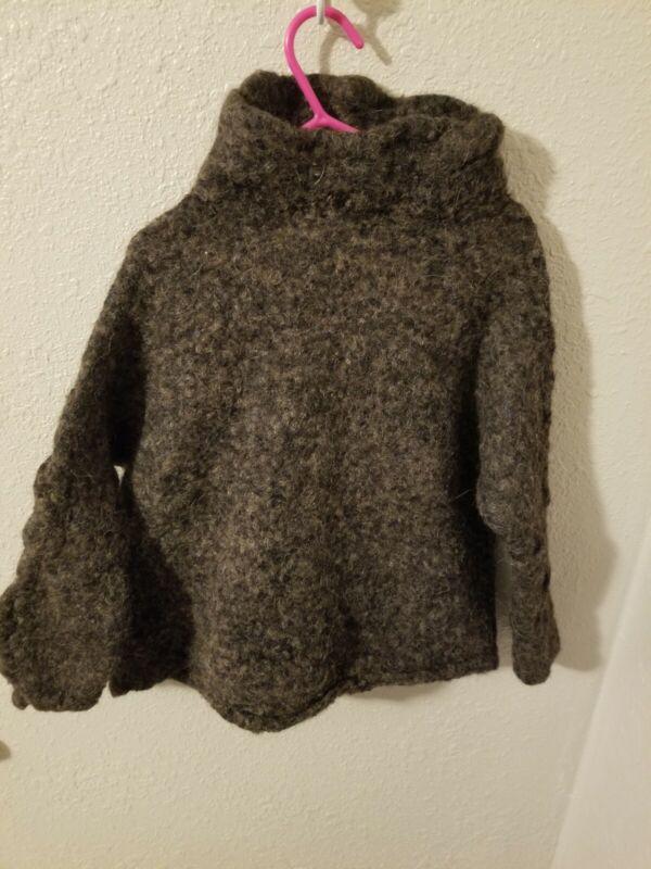 Free People Alpaca Blend Brown Turtleneck Sweater Child Small
