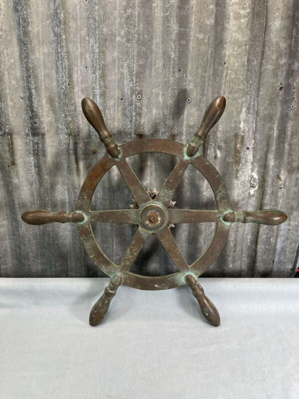 "Antique Nautical Solid Bronze Ship Boat Steering Wheel Yacht Nautical 20"" (G6)"