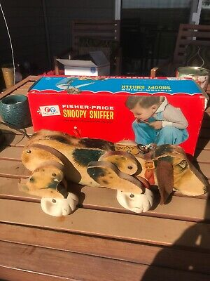 Vintage Fisher Price Snoopy Sniffer Pull Dog - With Original Box - 181