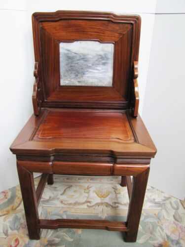 Antique 19th Century Chinese Blackwood and Marble Chair