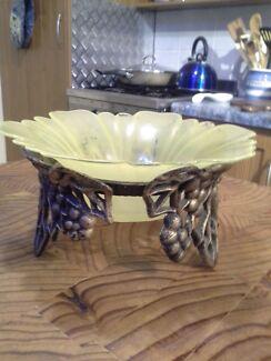 Retro glass and  brass bowl. Direk Salisbury Area Preview
