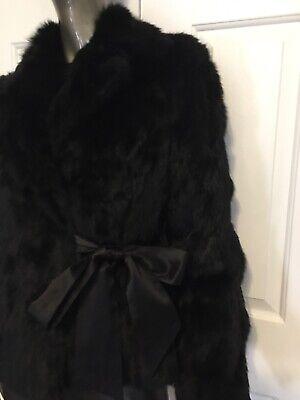 Nine West Belted Black Rabbit Fur Jacket with Ribbon Bow Tie Belt Size Med  Rabbit Fur Belt