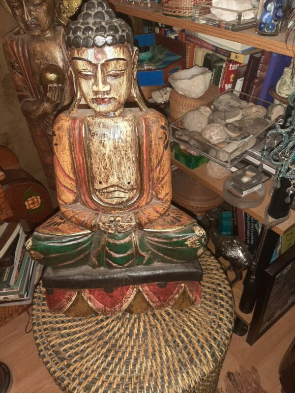 Vintage Wood , Hand Carved and Painted Buddha Sitting Statue Figure .
