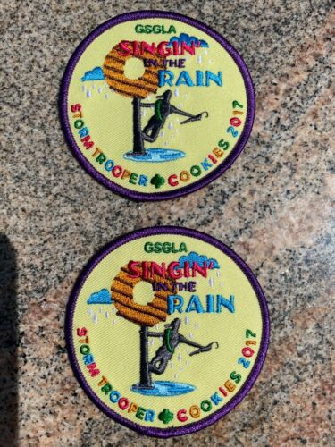"""2 Girl Scouts GSGLA """"SINGIN IN THE RAIN"""" STORM TROOPER COOKIE 2017 patches NOS"""