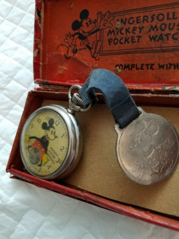 Ingersoll Mickey Mouse Pocket Watch Original Box and fob Working