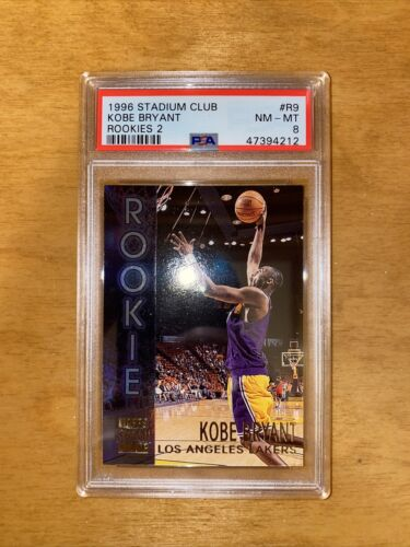 1996 Topps Stadium Club Kobe Bryant RC Rookie Card Chrome Refractor Lakers PSA 8 - $61.00