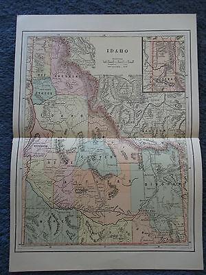 """Original Antique 1889 Idaho    14"""" x 10"""" Multicolor Map"""