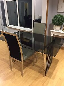 Glass Table & 3 Chairs