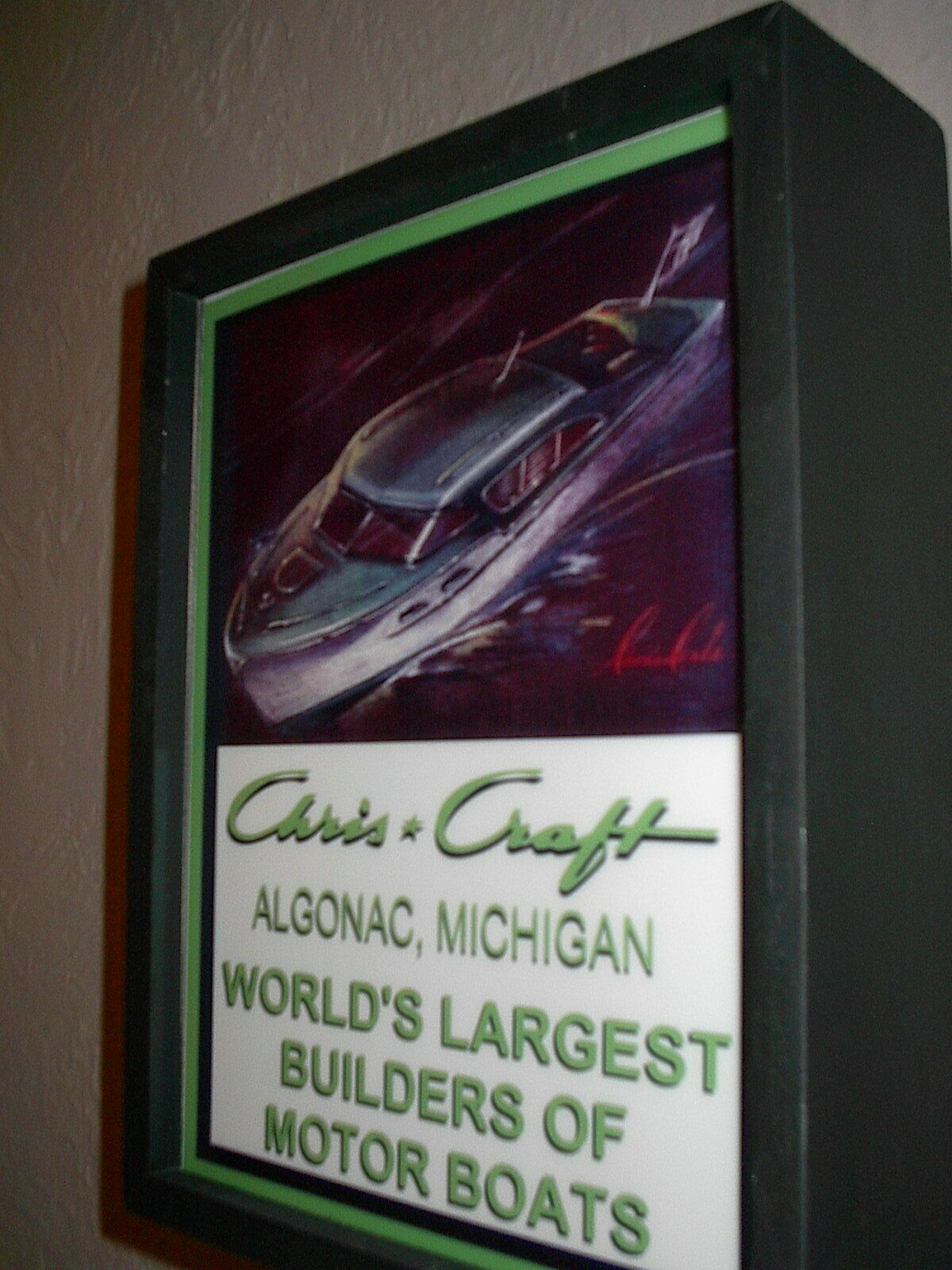 Chris Craft Boat Algonac Michigan Advertising Garage Man Cave Lighted Sign