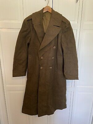 Original WW2 US Army Melton Wool Overcoat Trench Coat Greatcoat Jacket Size 36R