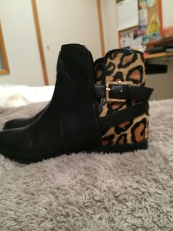 Wittner size 8-9 black leather boots with leopard detailing. Worn once  Miami Gold Coast South Preview