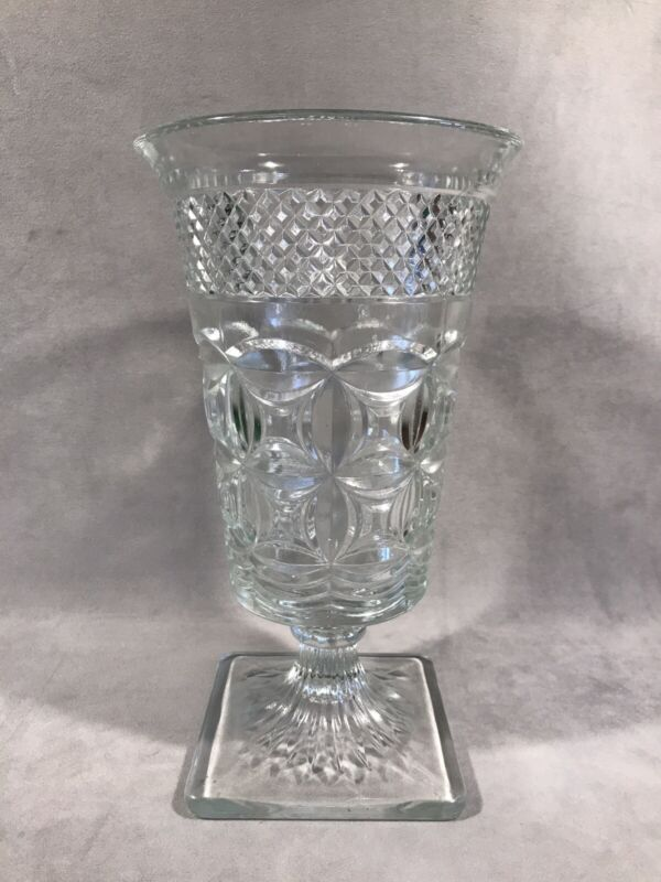 """PV05674 Vintage Clear Imperial Glass #160 CAPE COD VARIANT 10"""" Footed Vase"""