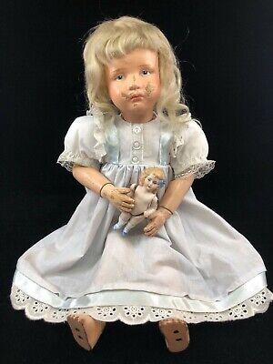 Vintage Doll Dress for Antique Bisque Schoenhut Composition China Empire Blue