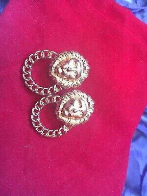 versace style lion stud earrings