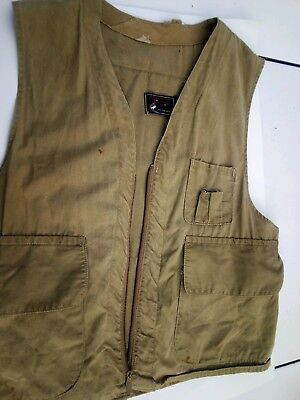 VINTAGE 1950s HALF MOON DUCK CANVAS HUNTING VEST RED HEAD LABEL SZ M or L  ()