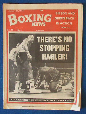 Boxing News Magazine   23 1 81   Marvin Hagler Cover