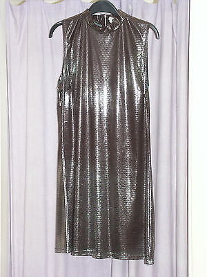 Women's 1970's  Black Snake Effect  A Line Mini Dress  36