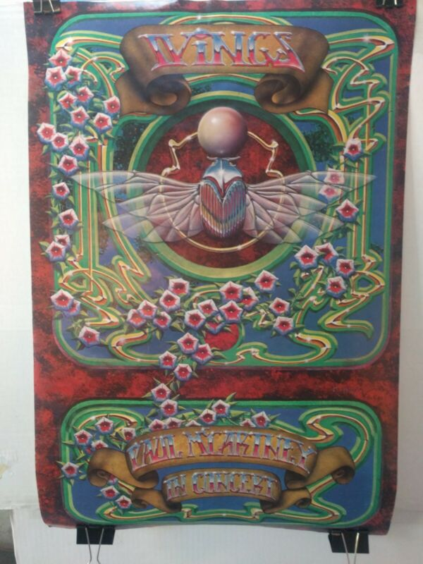 """Paul McCartney And Wings 1977 tour poster  28""""x19"""" Alton Kelley psychedelic art"""