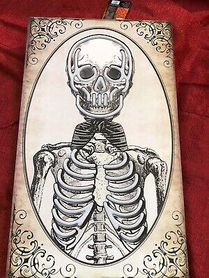 Skeleton Sign Lights Up Purple Bones Halloween Scary Skeleton Wall Portrait