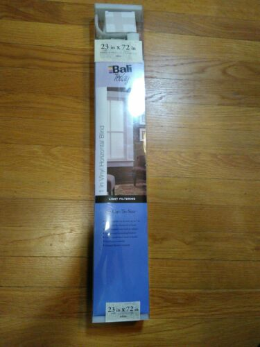 "23"" x 72"" white window shade blinds by bali today vinyl hori"