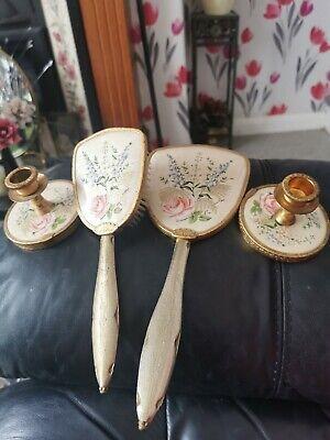 Vintage Brass Floral Decorated Dressing Table /Vanity Set